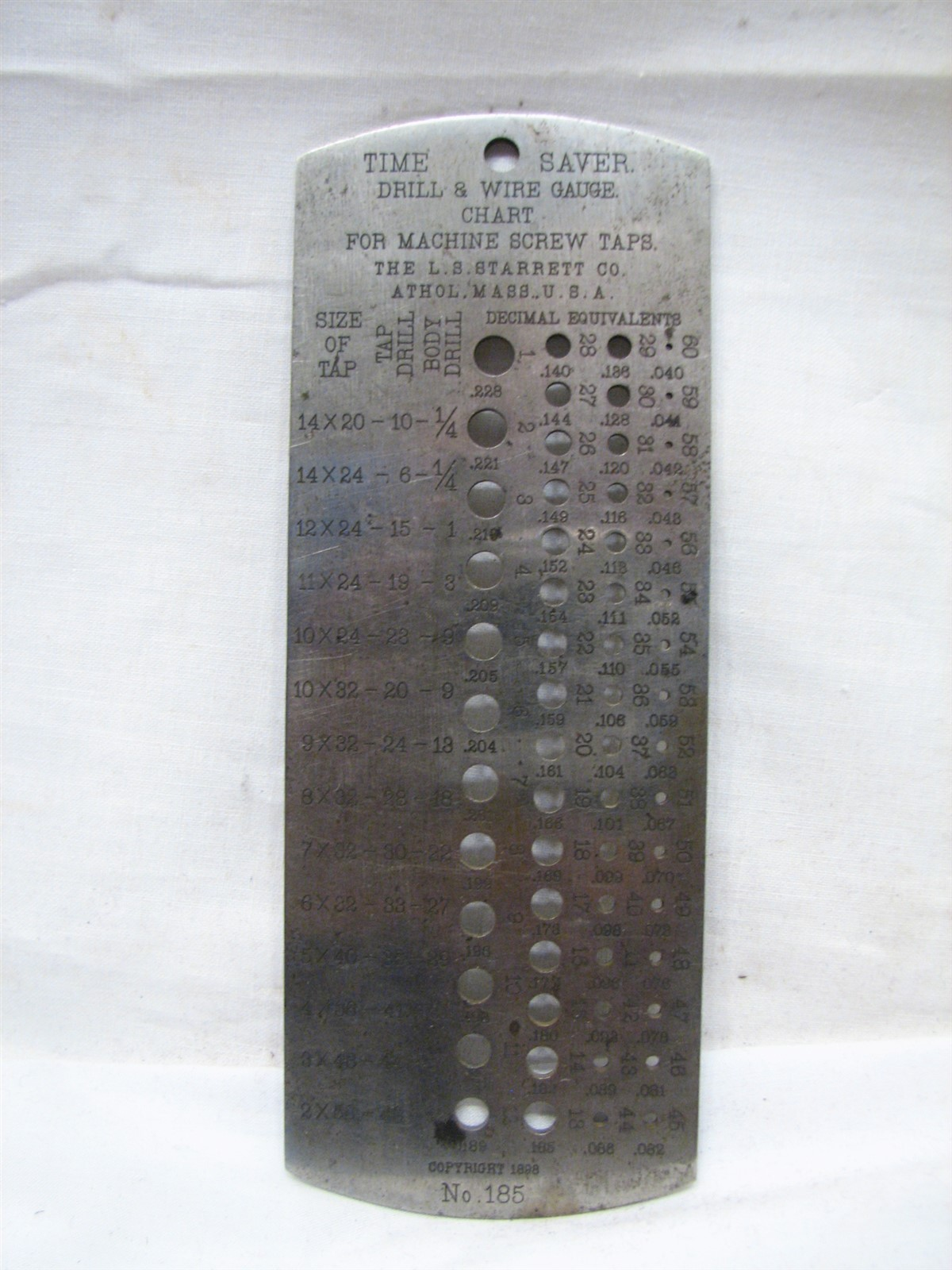Antique 1898 starrett time saver drill wire gauge chart guide shipping 99 of items shipped within three business days keyboard keysfo Images